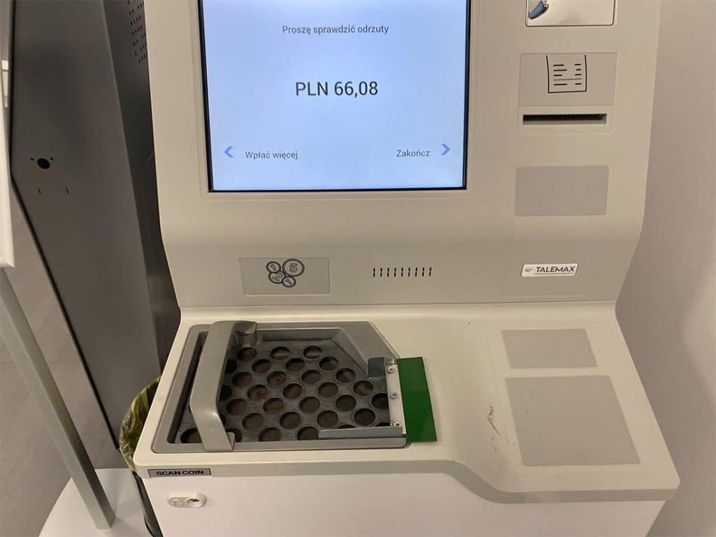 Automat do wymiany monet w NBP - wymieniarka